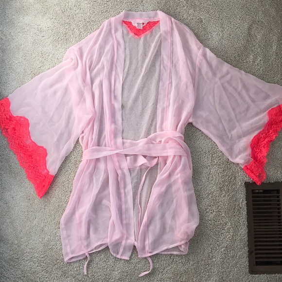 Victoria s Secret sheer pink robe lace sleeves e3926cf3a